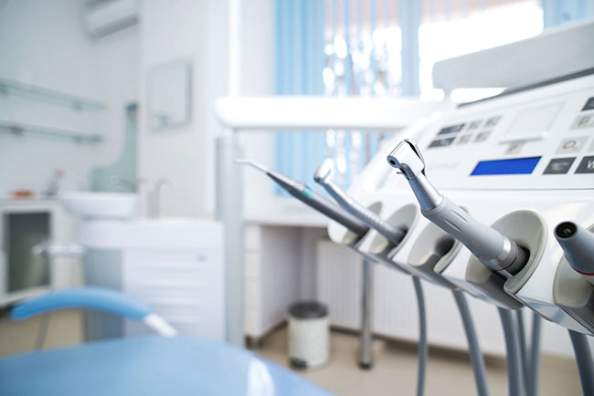 Placement of specialty instruments highlighted in dental office design sample