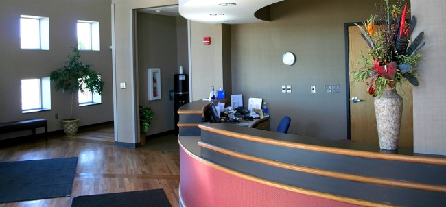 modern remodel dental reception intake waiting room area